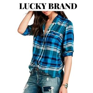 """Lucky Brand """"Bungalow"""" Plaid Shirt, Size Small"""